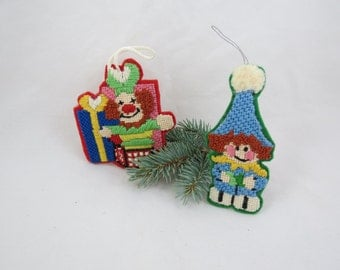 Vintage Needlepoint Ornaments, Needlepoint Christmas Ornaments, Needlepoint Holiday Ornaments, Jack in the Box, Free Shipping, 7HTT15