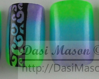 Cool Neon and Black Swirls Instant Acrylic Nail Set