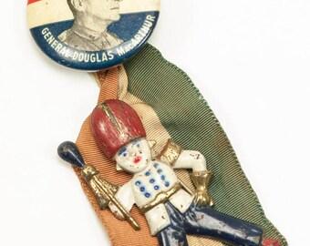 Vintage WWII General Douglas MacArthur Pinback Ribbon & Enameled Drum Major