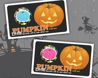 10 Halloween  Little Pumpkin Baby Gender Reveal Baby Shower Gender Announcement Scratch Off Card