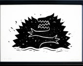 Crocodiles Fight. Limited Edition Framed Engraving Print.Hand Pulled Linocut print.