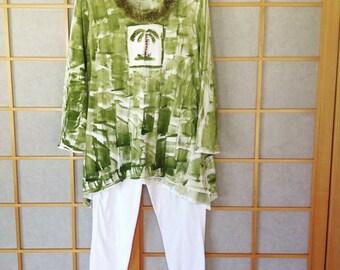 Woman Tunic - Plus Size Tunic - Long Sleeve Plus - Long Sleeve Tunic - Cotton Tunic - Hawaiian Fashion - Petrina Blakely