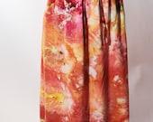Rayon Drawstring  Maxi Skirt, Tie Dyed, Ice Dyed, Autumn Yellow, Orange, Agate Design, Made To Order