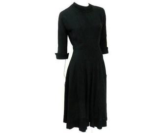Ann Kauffman Black Crepe Dress with Red Crinoline Skirt