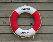 Life Preserver Pillow, Red and White Life Belt, Nautical Salvage