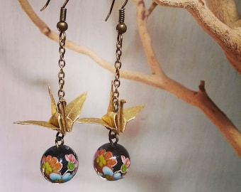Gold Origami Paper Crane Earrings with black decorative beads