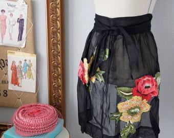 Vintage Colorful and Black Floral Applique Apron