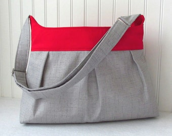 Custom Pleated Purse or Diaper Bag in Gray and Red or Choose Your Own Cross Body or Shoulder Bag Boy Girl