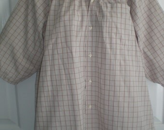 Peasant Blouse upcycled from a men's shirt, 54 inch, Large, beige plaid