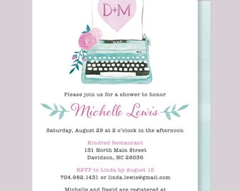 Typewriter Shower Invitation, She Found Her Type Shower Invite, Watercolor Typewriter, Vintage Typewriter Bridal Shower Invitation