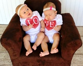 Twin Love Hearts Baby Bodysuit & Youth T Shirts