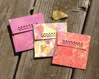 Double Sided Designer Paper Handcrafted Envelopes - Set of 3 - Peak a boo - One of a Kind Card Stock Envelopes