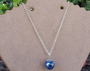 Cracked Glass Marble Necklace. COBALT BLUE.