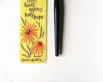 Persuasion yellow bookmark, with handwritten calligraphy - Captain Wentworth's letter - you pierce my soul (MADE TO ORDER)