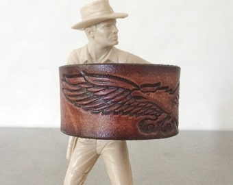 Eagle Cuff - Tooled Brown Leather Bracelet - Size Small