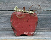 Apple, Red Apple, Primitive Fall Decor, Rustic Harvest Decor, Teacher Gift, Apple Decor, Primitive Apple, Apple Kitchen Decor, Farmhouse