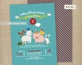 Party Animals Birthday Invitations Set/ Animals Birthday Invitations/ Petting Zoo Invitations | Printable or Printed