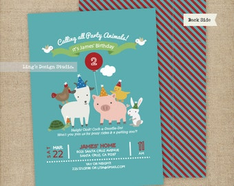 Party Animals Birthday Invitations Set/ Animals Birthday Invitations/ Petting Zoo Invitations | Printable or Printed