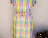 Vintage Handmade Plaid Dress with Matching Jacket, Two Piece Set, Belted Purple Dress, Purple Plaid, Mid Length Dress, Conservative Dress