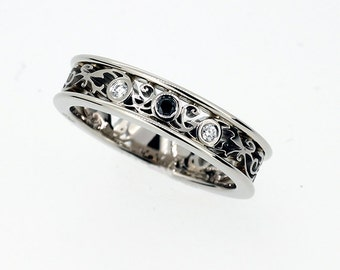Black and white Diamond filigree ring,  White gold, wedding band, diamond, black diamond wedding, filigree engagement ring, unique ring