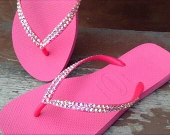 Custom Hot Pink Havaianas Slim flat Flip Flops Rose  Fuchsia Color w/ Swarovski Crystal Rhinestone Thong Bling Ladies Girl Cruise Beach Shoe