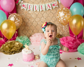 CAKE SMASH BANNER / 1st birthday girl / 1st birthday banner / Twinkle twinkle little star birthday / Pink and gold first birthday / Banners
