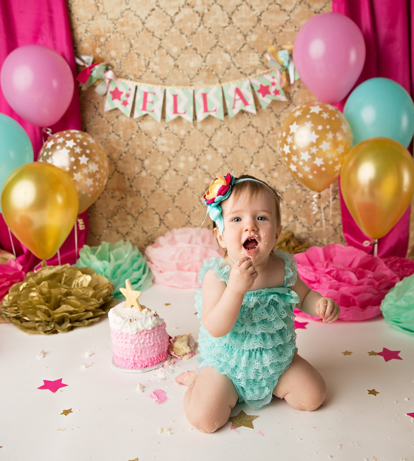 First Birthday Party In A Box In Gold Mint And Pink: CAKE SMASH BANNER / 1st Birthday Girl / 1st Birthday Banner