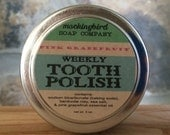 Pink Grapefruit Herbal Tooth Polish. Weekly Cleaning Powder with Purifying Clay + Essential Oil. All- Natural. Reusable Tin. Tooth Scrub.