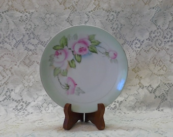 Antique Hand Painted Bavaria China Pink Roses Signed Plate Shabby Chic Cottage Chic Decor