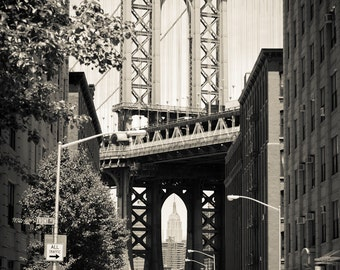 Manhattan Bridge Photograph - New York City Print - Landscape Print - Manhattan Bridge, Empire State Building between Arch - New York Art