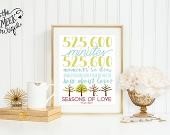 INSTANT DOWNLOAD, Lyrics, Seasons of Love, Rent, Musical, Printable, No.  588