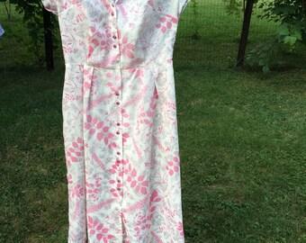 vintage 1960s ladies pink floral day dress