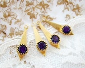 Vintage Swarovski Rhinestone Drops Dark Amethyst and Brass Art Deco Dangles Findings - 4