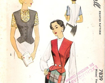 """Vintage 1949 McCall 7839 Vest Sewing Pattern Size 16 Bust 34"""""""