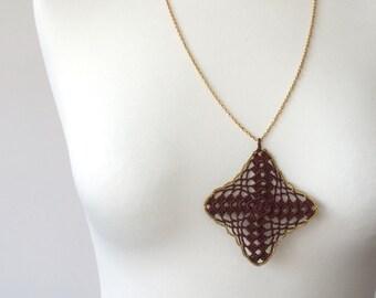 Boho Pendant, Brown Crocheted Necklace, Golden Boho Long Necklace,  Golden Chain Pendant, Christmas Gift, Crochet Jewelry,ReddApple