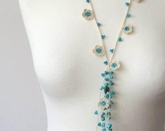 Beaded Lariat Necklace, Oya Crochet Necklace, Turquoise Jewelry, Turkish Boho Necklace, Cream Flowers, ReddApple, Gift Ideas