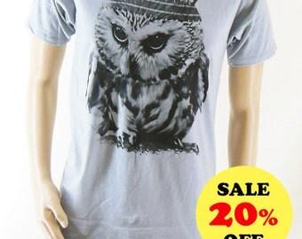 Baby Owl Indian shirt (size M) Animal Tshirt Owl Tshirt Unisex T-shirt Men Tshirt Tumblr clothes Gray Tshirt Teen shirt Screen Print Size M