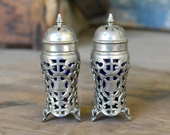 Godinger Salt & Pepper Shaker Set - Cobalt Blue Glass Captured in Victorian Style Silver Plated Metal, Heavy Patina - Vintage Home Decor