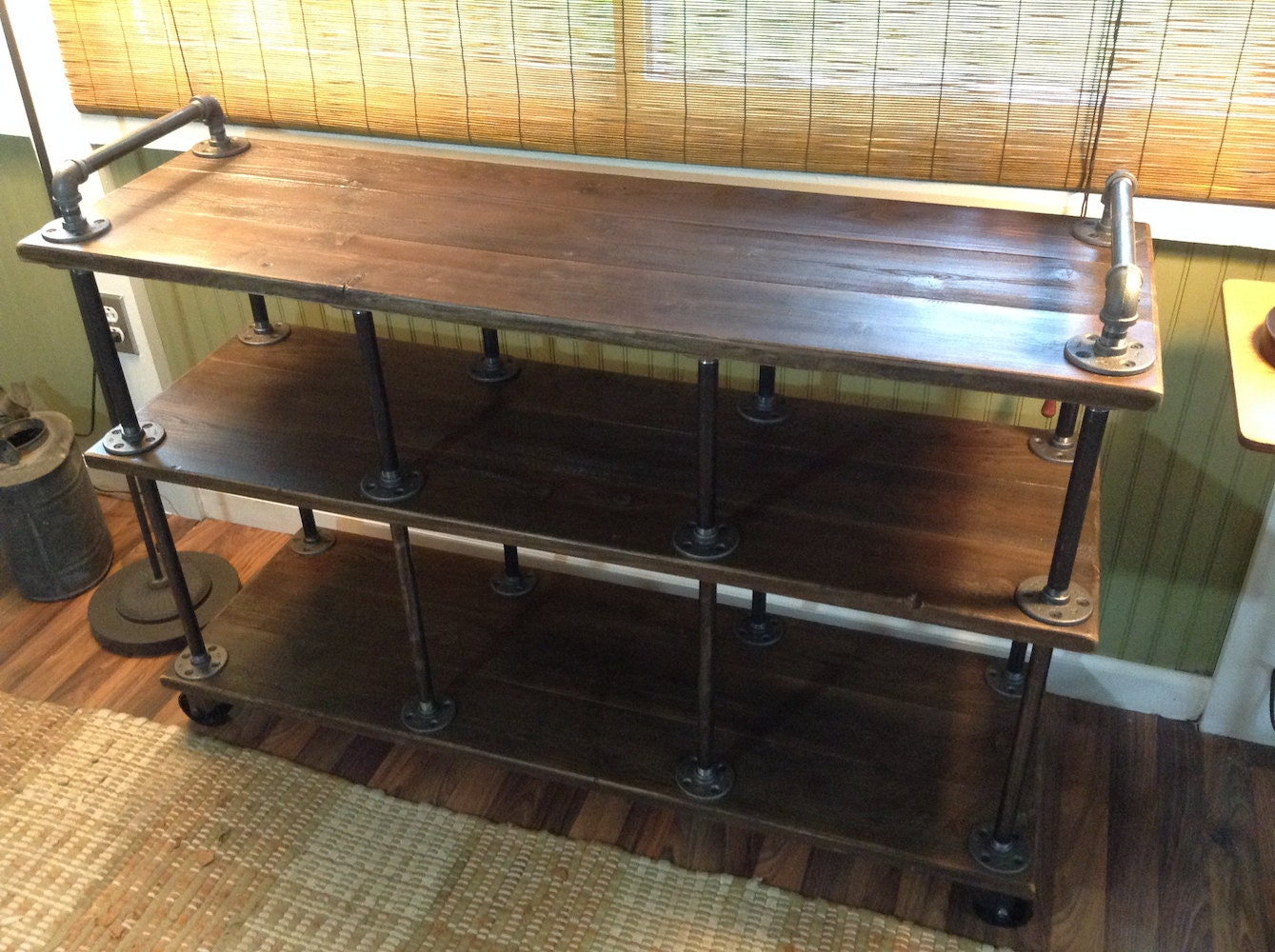 Industrial Tv Stand Iron And Wood For 40 To 46 Tvs