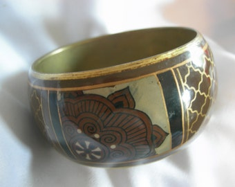 Wide Bangle Metal Bracelet | Brown Black Gold Cream Floral and Geometric Motif | Vintage