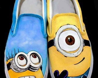 Minion Movie custom painted Vans, Converse or Toms. Any size, men, women, child.  The perfect gift for the Minion Lovers!