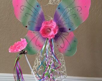 Fairy Wings, Rainbow Wings, Fairy Wand, Fairy Party Favors, Fairy Birthday Favors, Fairy Wands