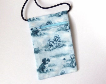 Pouch Zip Bag PUPPY Fabric.  Great for walkers, markets, travel. Cell phone pouch. small fabric purse. Pale blue dog bag