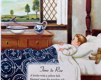 1960s TIME to RISE Where Go the Boats POEMS Doublesided Print Ideal for Framing