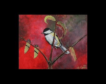 Black Capped Chickadee Original Acrylic Painting on Canvas