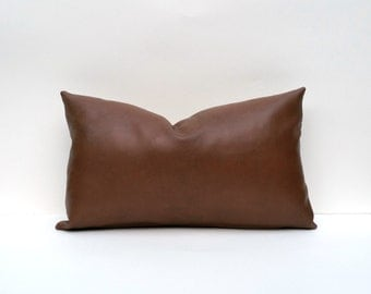 Chestnut Brown Decorative Faux Leather Pillow Cover