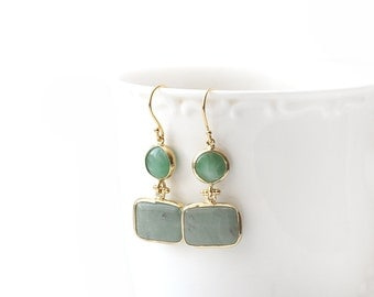 Green Jade Stone Hook Gold Plated Earrings