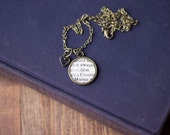 Marius and Cosette from Les Miserables by Victor Hugo Antiqued Bronze Book Page Necklace