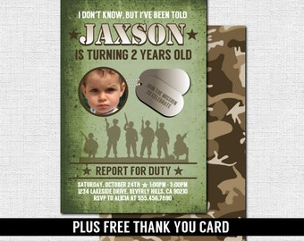 CAMOUFLAGE ARMY INVITATIONS Birthday Party (printable files) + Free Thank You Card - Military Camo Personalized - Print Your Own