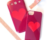SALE - Ready to Ship - 2 Toned Heart Phone Case - iPhone / Samsung Models - Gift for Her, Love, Gadget Accessory, Valentine's Day